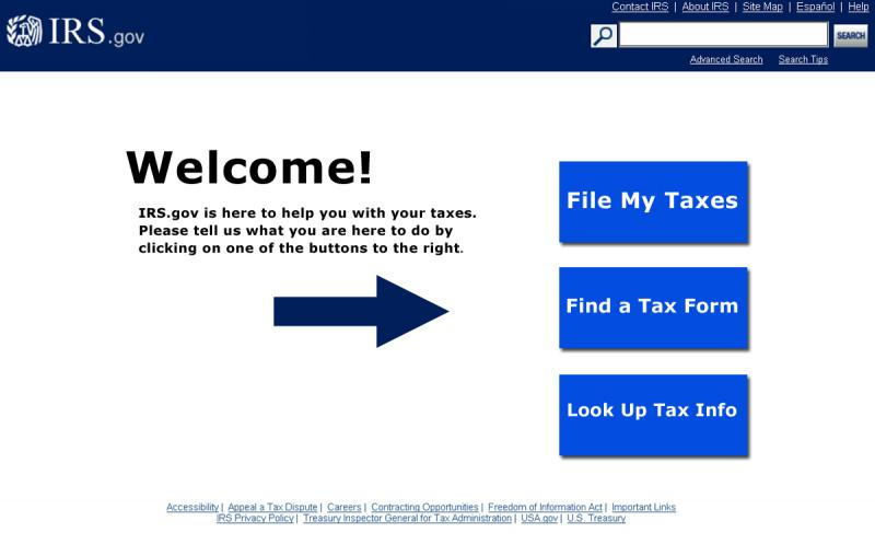 IRS.gov Home Page with new architecture